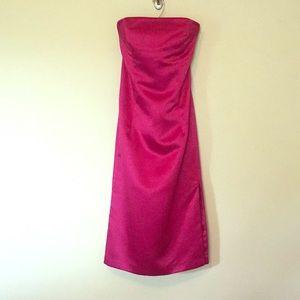 Satin fuchsia strapless dress